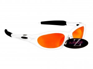 RAYZOR BLAZE: WHITE FULL FRAMED SPORTS SUNGLASSES WITH A RED IRIDIUM MIRRORED ANTI GLARE LENS.