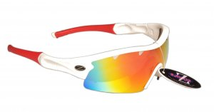 VENTZ: RAYZOR WHITE FRAMED SPORTS SUNGLASSES WITH A 1 PIECE VENTED RED IRIDIUM MIRRORED ANTI GLARE LENS.
