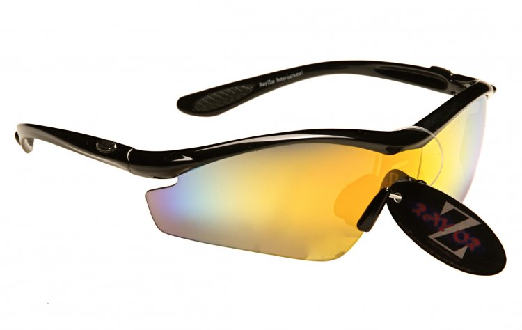 RAYZOR VYZORS: BLACK FRAMED SPORTS SUNGLASSES WITH A 1 PIECE GOLD IRIDIUM MIRRORED LENS - Click Image to Close