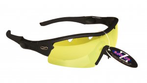 VENTZ: RAYZOR BLACK FRAMED SPORTS SUNGLASSES WITH A 1 PIECE VENTED CLEAR YELLOW LIGHT ENHANCING ANTI GLARE LENS.