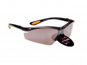 RAYZOR VYZORS: GUNMETAL GREY FRAMED SPORTS SUNGLASSES WITH A 1 PIECE SMOKED MIRRORED SPORTS LENS [RI612GRSM]
