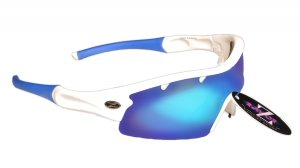 VENTZ: RAYZOR WHITE FRAMED SPORTS SUNGLASSES WITH A 1 PIECE VENTED BLUE IRIDIUM MIRRORED ANTI GLARE LENS.
