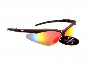 WINDSHIELDZ: RAYZOR DARK RED FRAMED SPORTS SUNGLASSES WITH A RED IRIDIUM MIRRORED ANTI GLARE LENS.