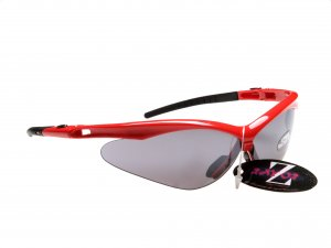 WINDSHIELDZ: RAYZOR RED FRAMED SPORTS SUNGLASSES WITH A SMOKED MIRRORED ANTI GLARE LENS