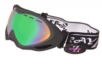 RayZor Black Framed Goggles With an Anti Fog Blue / Green Iridium Mirrored Vented Double Lens.