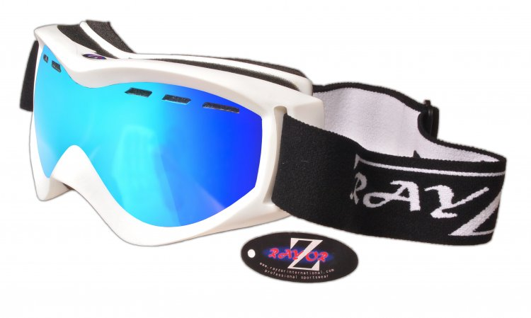 RayZor White Framed Goggles With an Anti Fog Blue Iridium Mirrored Vented Double Lens. - Click Image to Close