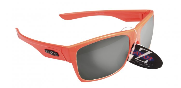 RAYZOR WAYVZ: NEON ORANGE FRAMED SPORTS SUNGLASSES WITH A UV400 SMOKED MIRRORED ANTI GLARE LENS - Click Image to Close
