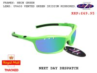 RAYZOR FINZ: NEON GREEEN FRAMED SPORTS SUNGLASSES WITH A UV400 VENTED GREEN IRIDIUM MIRRORED ANTI GLARE LENS