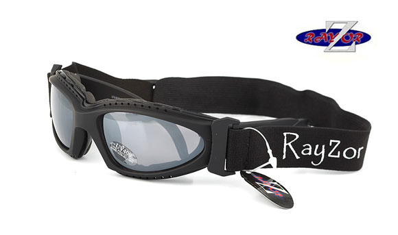 RayZor Black Framed 2 In1 Goggle Sunglasses with a Smoke Mirrored Lens