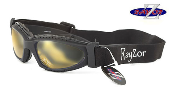 RayZor Black Framed 2 In 1 Goggle Sunglasses with a Clear Yellow Light Enhancing Lens.