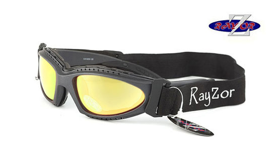 RayZor GunMetal Grey 2 In1 Goggle Sunglasses with a Gold Iridium Mirrored Lens.