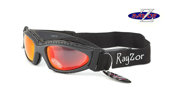 RayZor Gun Metal Grey 2 In 1 Goggle Sunglasses with a Red Iridium Mirrored Lens.