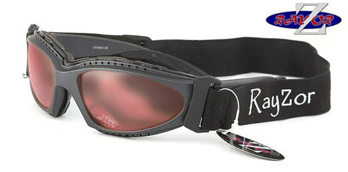 RayZor Gun Metal Grey Framed 2 In1 Goggle Sunglasses with a Clear Rose Lens.