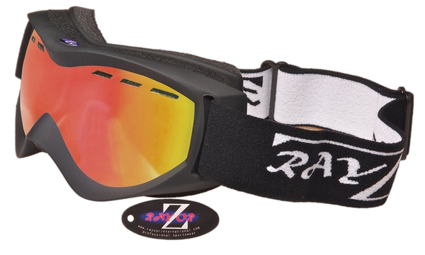 RayZor Black Framed Goggles With an Anti Fog Red Iridium Mirrored Vented Double Lens. - Click Image to Close