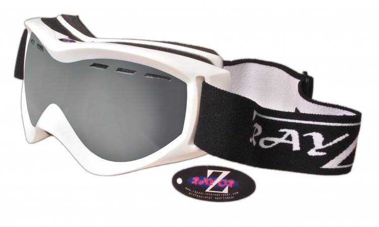 RayZor White Framed Goggle With an Anti Fog Smoked Mirrored Vented Lens.