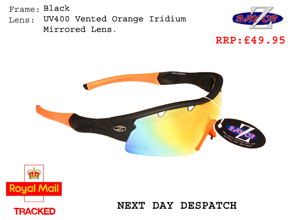 RayZor Uv400 Black Sports Wrap Sunglasses Vented Smoke Mirrored Lens 220