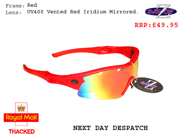 RayZor Uv400 White Sports Wrap Sunglasses Vented Red Mirrored Lens RRP£49 220