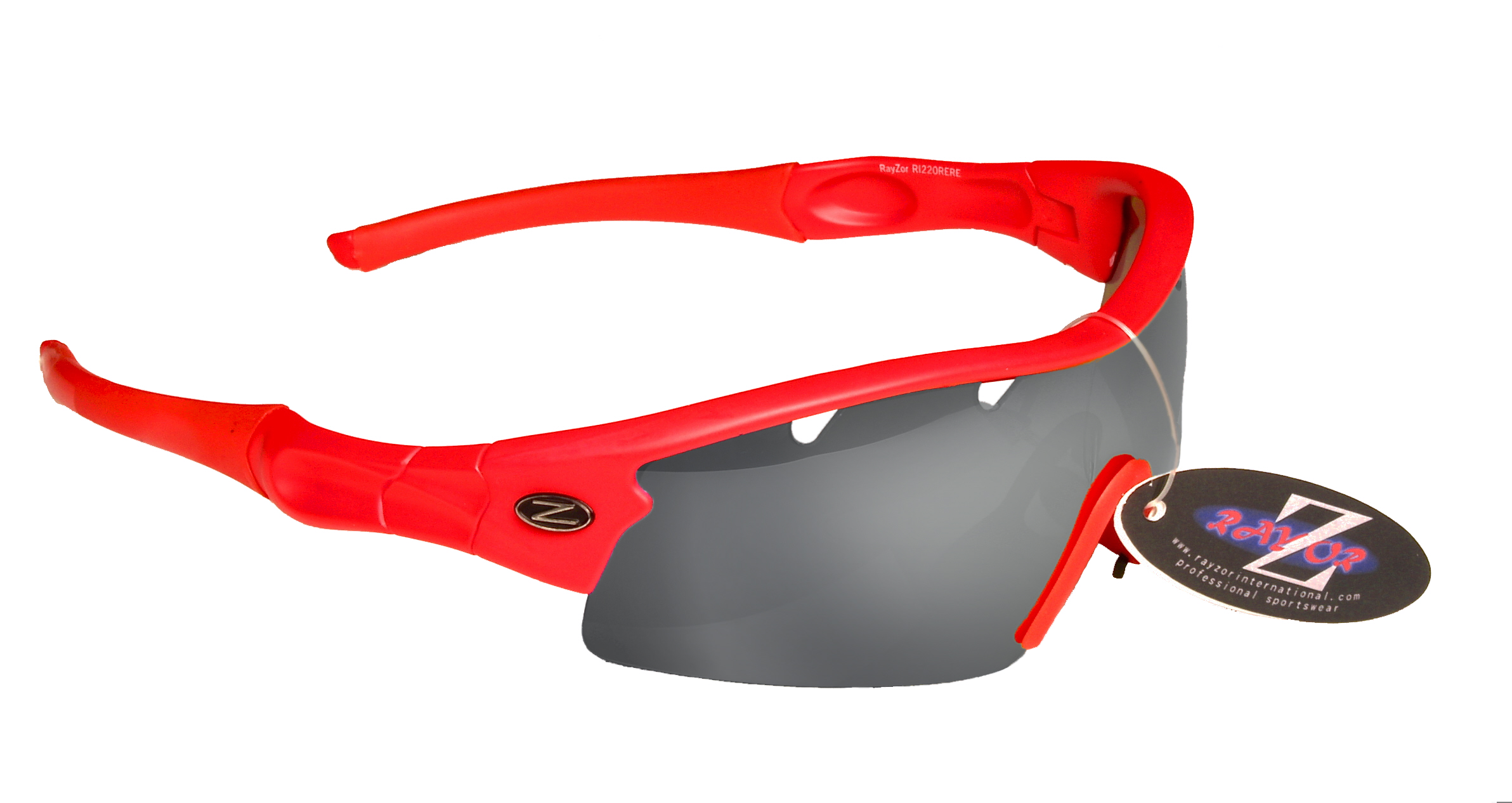 VENTZ: RAYZOR RED FRAMED SPORTS SUNGLASSES WITH A ONE PIECE VENTED SMOKE MIRRORED ANTI GLARE LENS.
