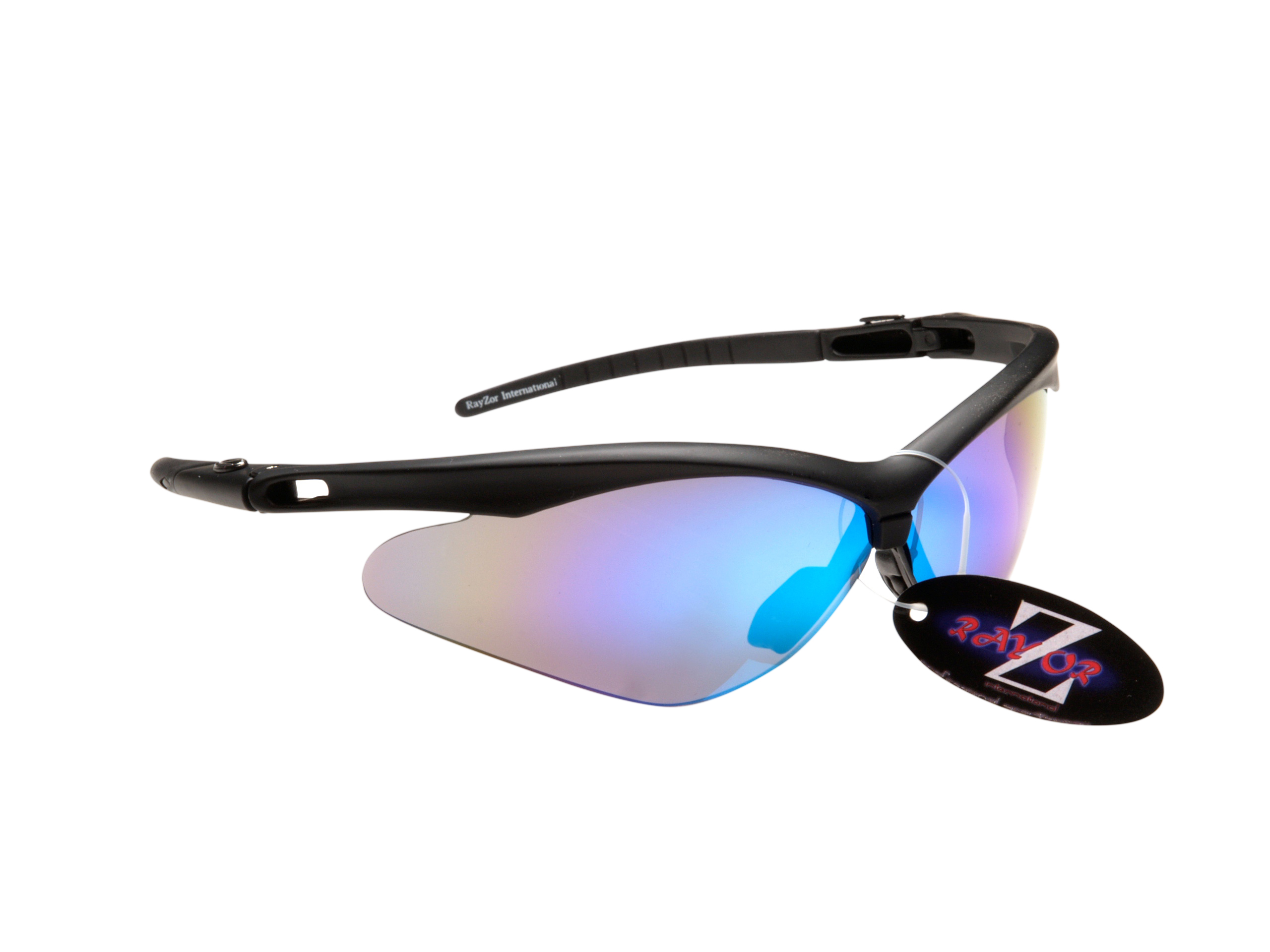 WINDSHIELDZ: RAYZOR BLACK FRAMED SPORTS SUNGLASSES WITH A BLUE IRIDIUM MIRRORED ANTI GLARE LENS. - Click Image to Close