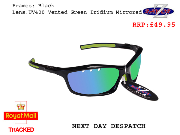 RAYZOR FINZ: BLACK FRAMED SPORTS SUNGLASSES WITH A UV400 VENTED BLUE GREEN IRIDIUM MIRRORED ANTI GLARE LENS - Click Image to Close