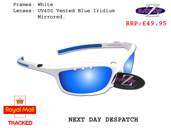 2f7ecb0ff032 Details about RayZor Uv400 White Sports Wrap Sunglasses Vented Blue  Mirrored Lens (401)