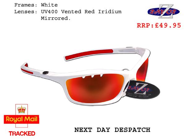 RayZor Liteweight UV400 Red Sports Wrap Hiking Sunglasses,1 Pce Red Iridium M...