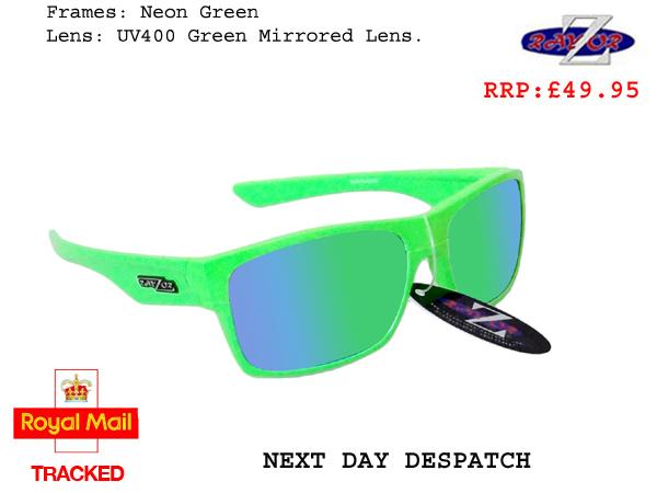 f6fe1c6537 RayZor Uv400 Neon Green Sports Wrap Sunglasses green Mirrored Lens ...