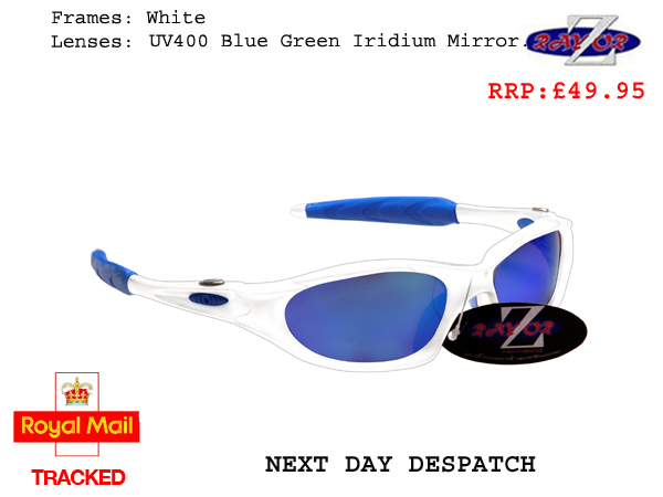3caf2895f8 RayZor Uv400 White Sports Wrap Sunglasses Blue Mirrored Lens (478 ...