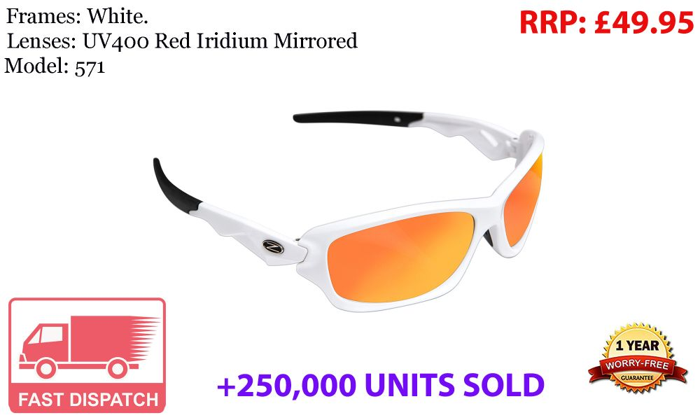 220 RayZor Uv400 White Sports Wrap Sunglasses Orange Mirrored Lens