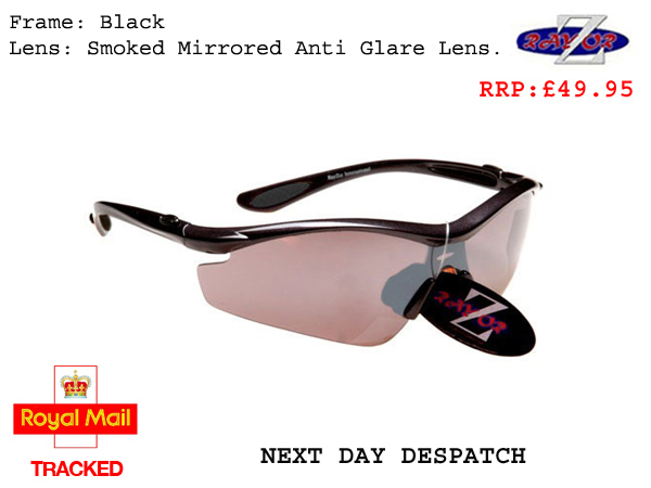 RAYZOR VYZORS: BLACK FRAMED SPORTS SUNGLASSES WITH A 1 PIECE SMOKED MIRRORED SPORTS LENS - Click Image to Close