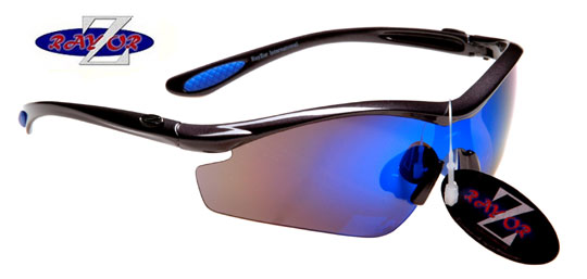 GUNMETAL GREY FRAMED SUNGLASSES WITH A 1 PIECE BLUE SPORTS LENS