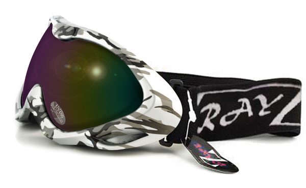 RayZor Silver Camouflage Goggle With AntiFog Purple / Gold Lens.