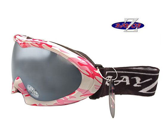 RayZor Pink Camouflage Goggle With Anti Fog Smoked Mirror Lens.
