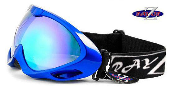 RayZor Blue Framed Goggle With Anti Fog Blue Mirrored Lens.