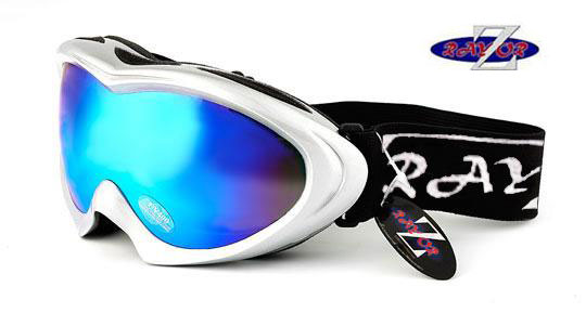 RayZor White Framed Goggle With An Anti Fog Blue Mirrored Lens.